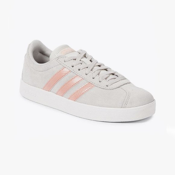 adidas | NEW VL COURT 2.0 Sneakers Grey Pink US10